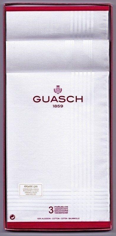 Caja 3 Pañuelos Caballero Guasch modelo Karnak - Pañuelos Hilo de Algodón rematados a mano y un tamaño de 44x44 cm - Ref: Karnak 52RM - Tu ropa interior masculina en Varela Íntimo. #regalos #hombre http://www.varelaintimo.com/43-panuelos