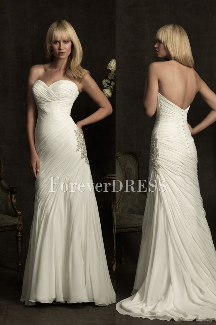 Pee Wedding Dress Of Sweetheart White Shirring And Ruches