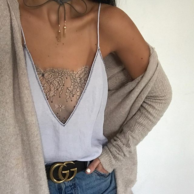 Camisole with deep V and lace detail, oatmeal cardigan, tan choker