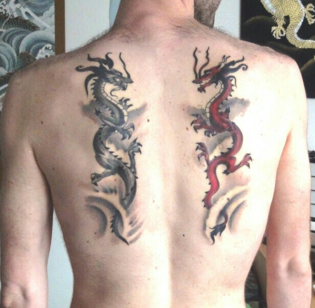 my twin japanese dragons tattoo tattoo pinterest japanese dragon tattoos japanese dragon. Black Bedroom Furniture Sets. Home Design Ideas