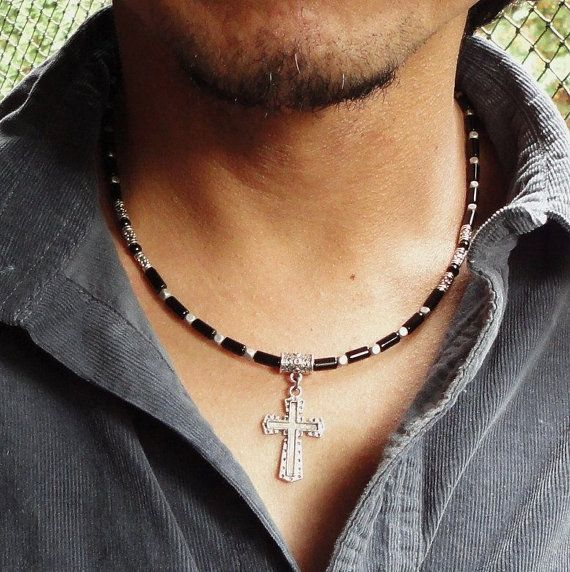 Mens Cross Necklace Metal Pendant Black Onyx by mamisgemstudio, $31.95