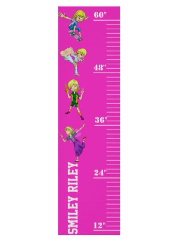 "Keep track of your girls ""sproutiness"" with the Smiley Riley growth chart. At 52"" tall by 14"" wide in a bright raspberry color, this chart will look great on any girls bedroom wall (much better than pen marks on the door frame!)."