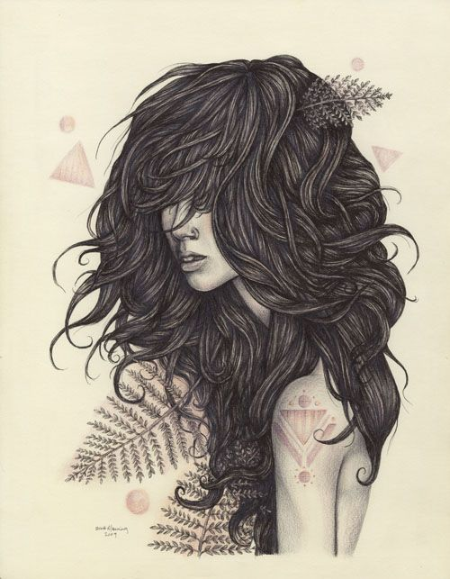 : Art Inspiration, Long Black Hair, Wild Hair, Long Hair, Illustration, Ink Drawings, Wigs, Inspiration Art, Brett Men