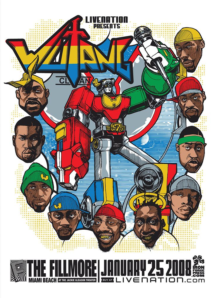 Wu Tang gig poster, Miami 2008 Wu tang clan, Wu tang