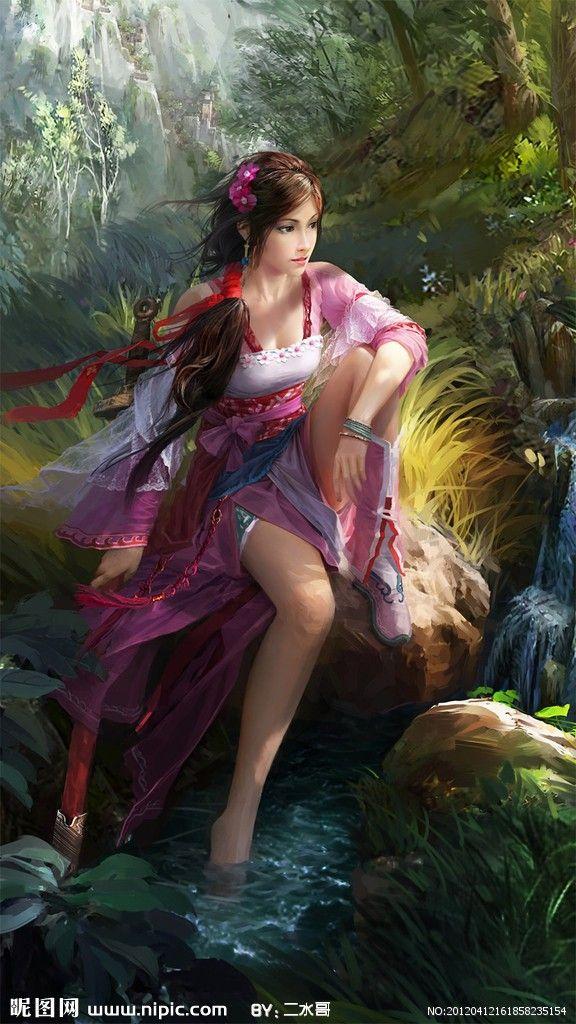 Girl illustration #art #fantasy digital art flowers