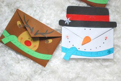 Bałwanek i renifer, czyli świąteczne wersje papierowych kopert :)