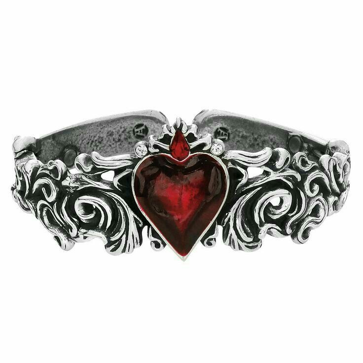 """Womens  Sterling Silver Ring with Red Garnet Heart.  """"Gothic Jewelry"""""""