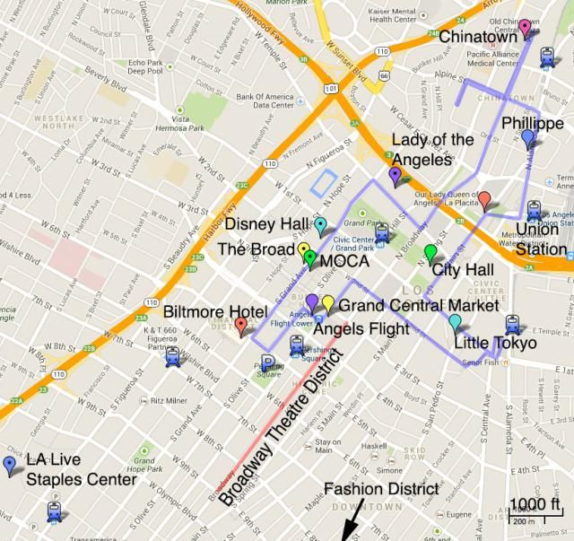 Visitor's Map of Downtown Los Angeles shows the best sights and attractions