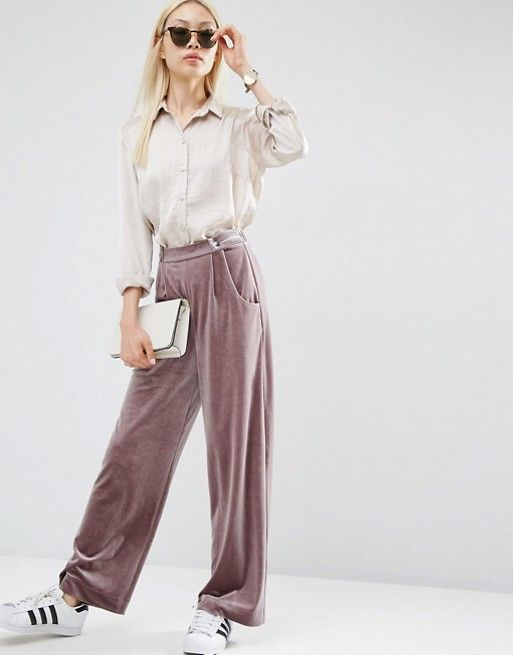 ASOS | ASOS Velvet Slouch Wide Leg Trousers