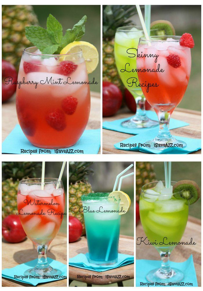"""I've listed the top 5 of my absolute favorite homemade lemonade recipes! All of them are super easy and include a """"skinny"""" version of the same drink!"""