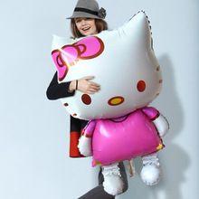 Grande 80 x 48 Hello Kitty Cat Foil Globos de dibujos animados cumpleaños decoración de la boda Globos inflables fiesta de Globos de aire de la gota(China (Mainland))