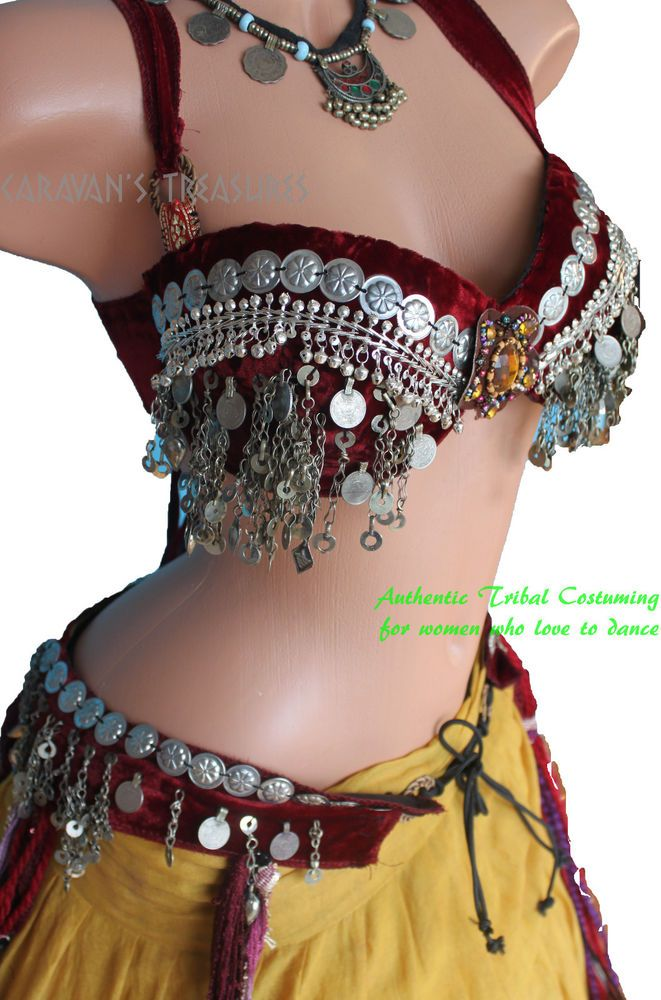 Red Kuchi Coin Bra and Belt SET Size 36D Gypsy Tribal Fusion Belly Dance ATS #Handcrafted