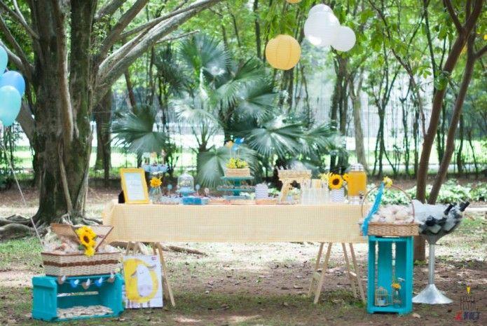 festa picnic azul e amarela na praça. decoração com tema de passarinhos para chá de bebê.