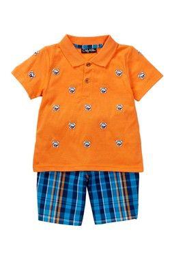 Pirate Skull Schiffli Embroidery Knit Polo & Plaid Woven Short Set (Toddler Boys)