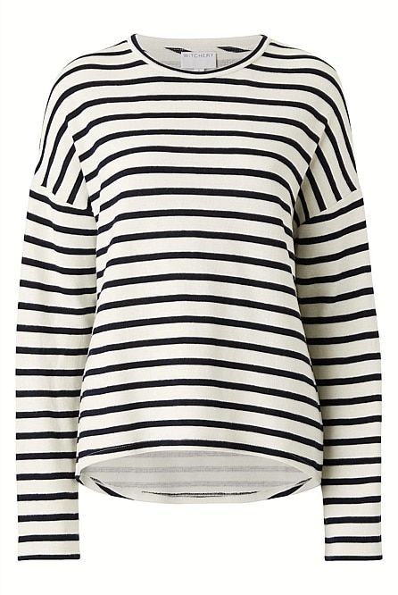 1da1766f48cf WITCHERY Drop Shoulder Sweat Colour  Lead Blue Editor Notes A weekend  basic  this striped