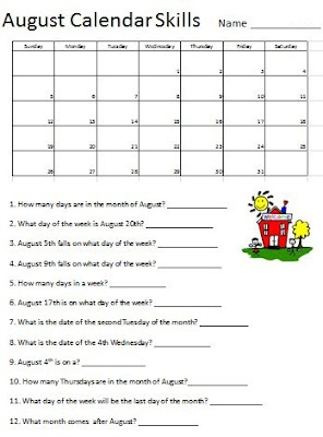 Empowered By THEM: Monthly Calendar Skills 2012/2013