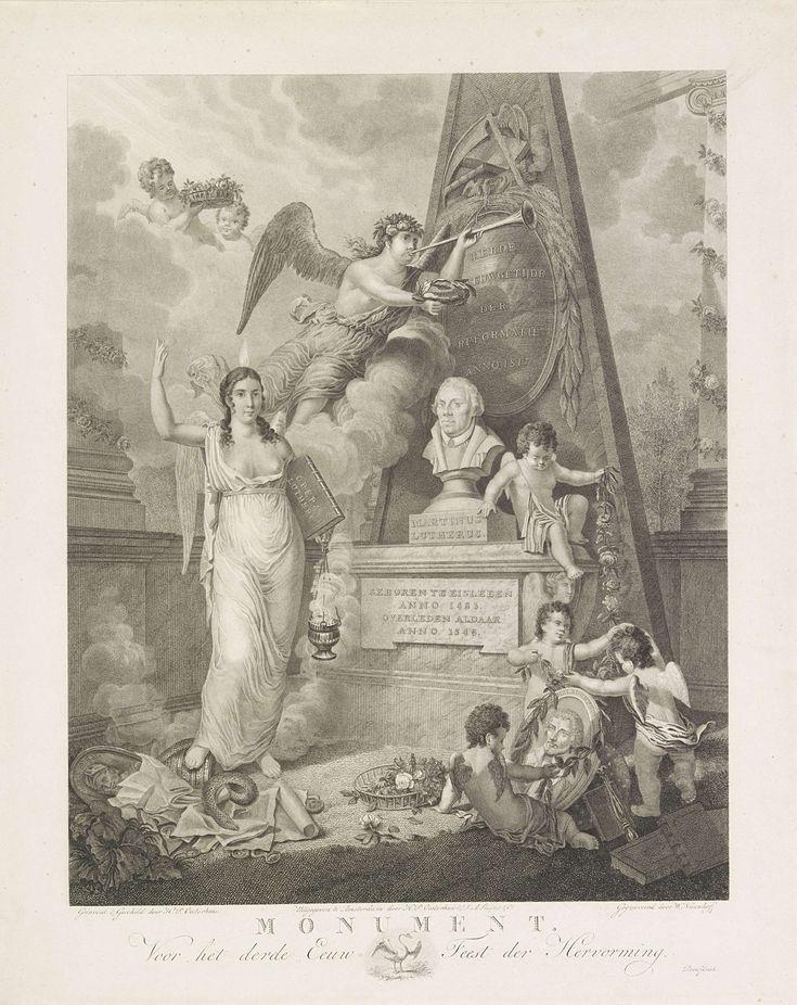 Monument voor het derde eeuwfeest van de Hervorming, 1517-1817, Walraad Nieuwhoff, 1817