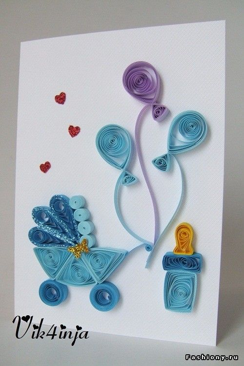 Квиллинг открытка к рождению сына, выходных