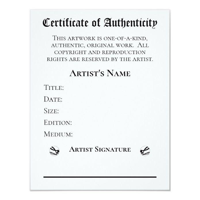 Certificate Of Authenticity Artists Art Retailers Invitation Zazzle Com In 2021 Art Certificate Artist Art Certificate