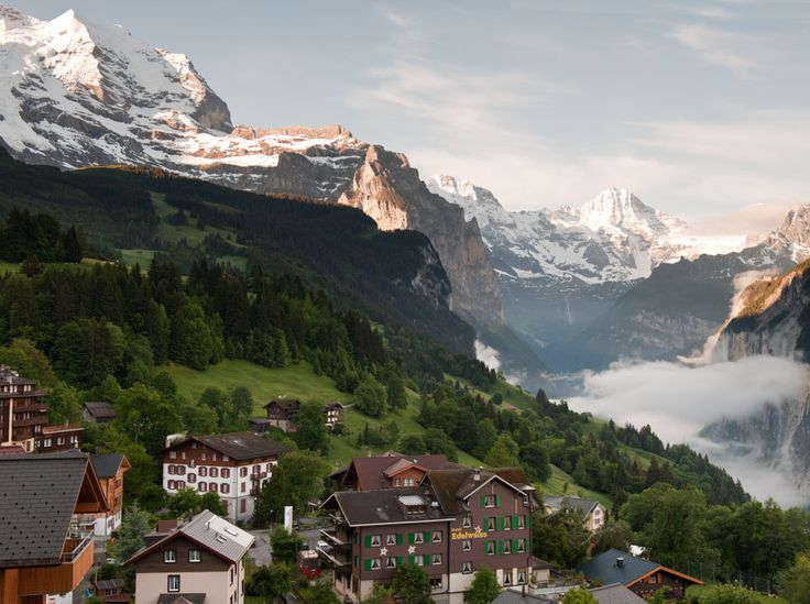 The village of Wengen, Switzerland, above the Lauterbrunnen valley.