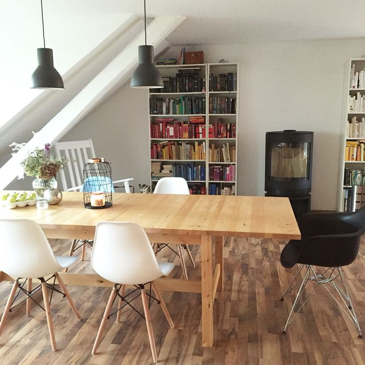 Mit Ikea Norden Esstisch Eames Chairs Skantherm Kaminofen Billy Bcherregal Dining TableDining