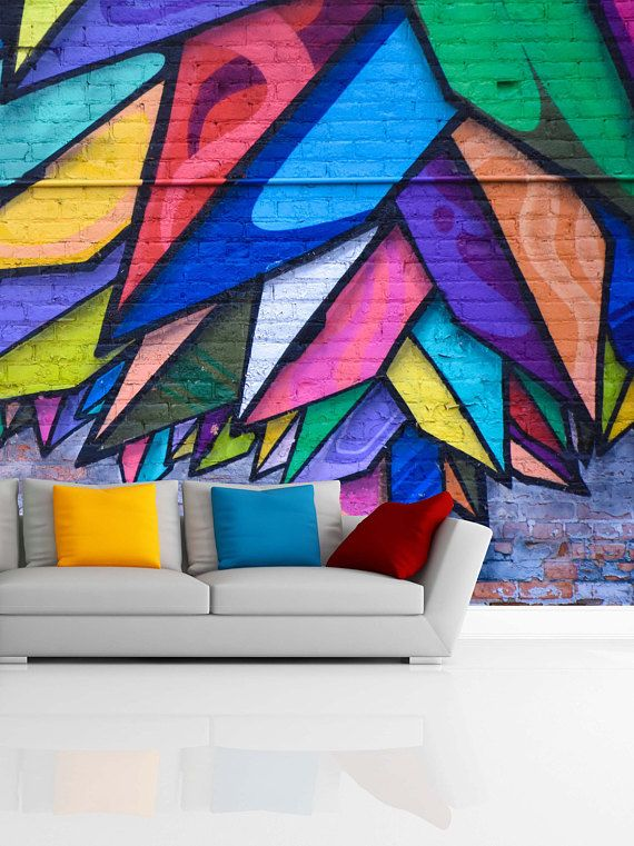 Removable Wallpaper Mural Peel Stick Colorful Graffiti Etsy Mural Wallpaper Mural Wallpaper