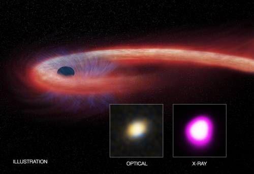 """Un agujero negro gigante destrozó una estrella cercana y después continuó """"alimentándose"""" de sus restos durante casi una década, según una nueva investigación. Este proceso de alimentación del agujero negro es más de 10 veces más largo que cualquier otro episodio conocido de destrucción de una estrella por un agujero negro."""