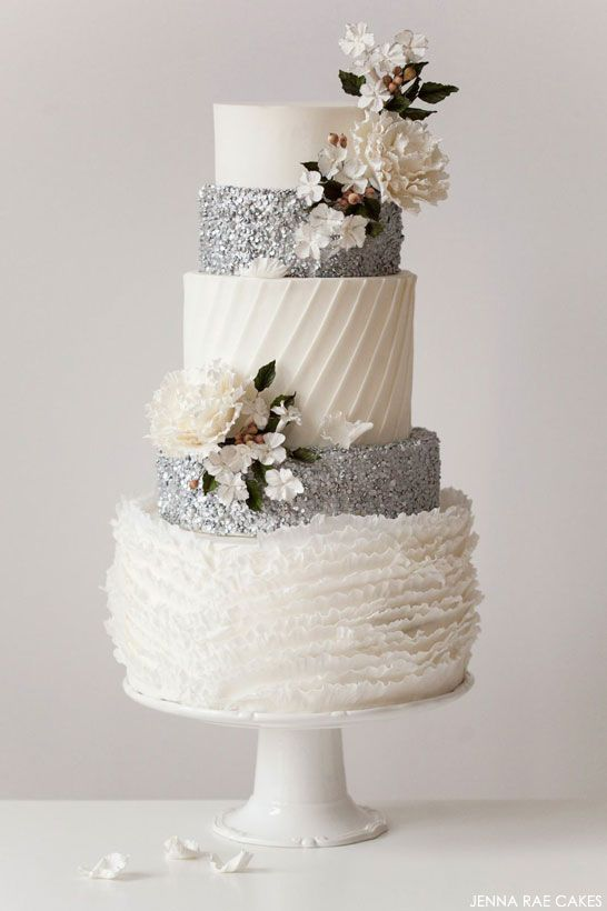 Silver wedding cakeIdeas, Silver Wedding Cake, Cake Design, Jenna Rae, Winter Wedding Cakes, Rae Cake, Silver Weddings, Winter Weddings, Weddingcake