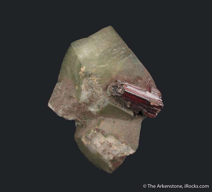 Rutile on Adularia - St. Gotthard Region, Ticino, Switzerland Size: 8.4 x 6.4 x 3.6 cm