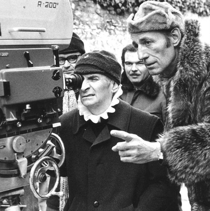 Louis de Funès et réalisateur Jean Girault. L'avare - tournage. 1979