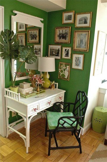 Love Everything about this...  Green, White, Black and Gold combo. the vintage bamboo desk and chair.