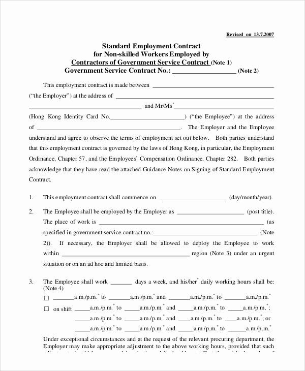 Standard Employment Contract Template Unique 7 Standard Employment Contract Samples Contract Template Weekly Planner Template Document Sign