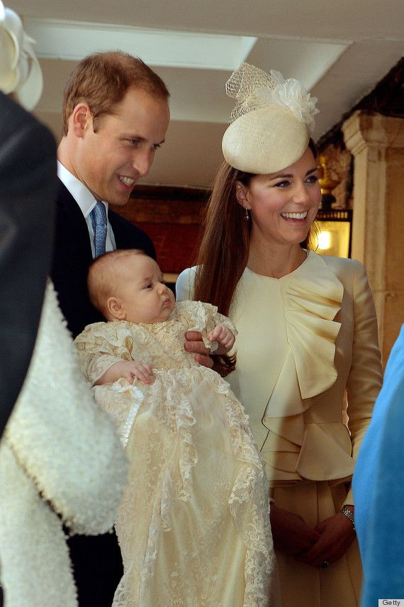Prince William, Kate and Prince George together before they went in for the christening service. - Kate's in an Alexander McQueen Ivory Wave Ruffle Jacket and Jane Taylor hat for Prince George's christening.  - 10/23/2013