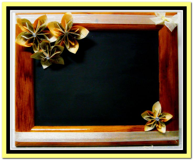 Another old door frame updated with chalkboard paint & decorated with paper flowers.Ready to hang up & write on :)
