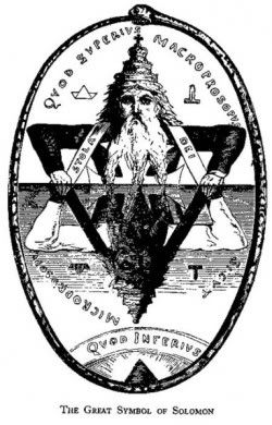 the Seal of Solomon. The symbol is representative of the combination of opposites and transmutation. By combining the alchemical symbols for fire (upwards triangle) and water (downwards triangle), the alchemical symbols for earth and air are also created. The downwards facing triangle is divided along the center by the base line of the opposite triangle.
