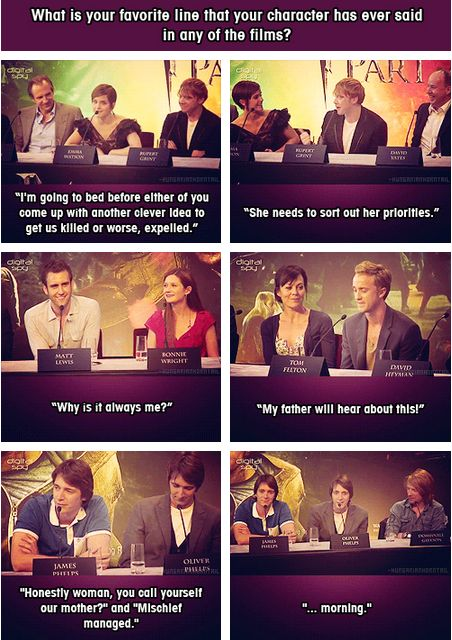 The Harry Potter cast's favorite line for their character!