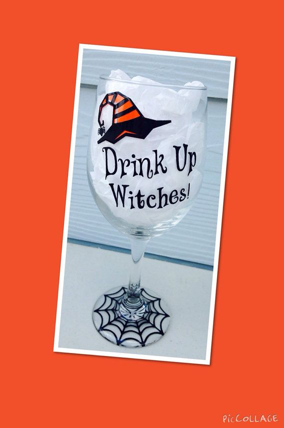 Halloween Drink Up Witches Funny Fun Large Wine Glass 20oz Witch, Party, Halloween Party