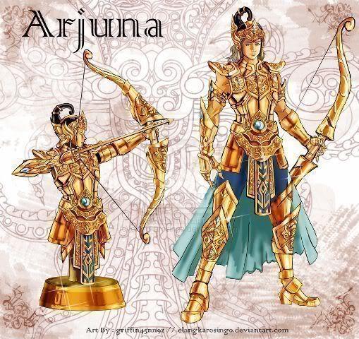 Saint Seiya in Indonesian version. Arjuna merupakan putra bungsu Dewi Kunti dengan Pandu. Ia merupakan penjelmaan dari Dewa Indra, Sang Dewa perang.