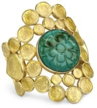 #Shopping #Bargain #Deals Isharya #Gold Disc Enamel Carved Green #Turquoise-Color Cuff-Bracelet, Size Medium  From Isharya  List Price:$380.00  Price:$139.89 & eligible for #FREEShipping