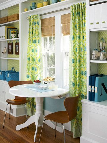 curtains for large window in kitchen area and shelf over window? good idea!