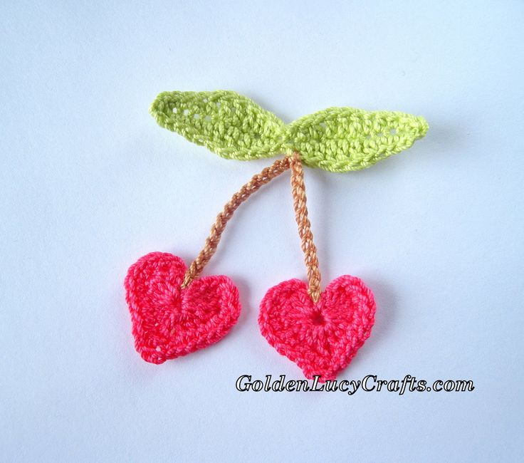 crochet, cherries, cherry, heart, applique, valentine's day, valentine's, decoration