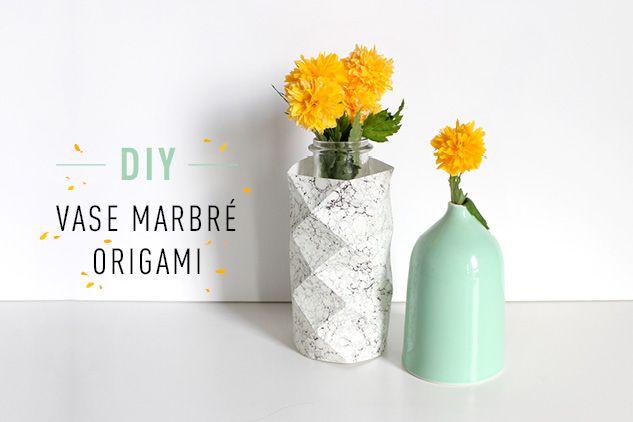 L'Éclat de Verre Encadreur - Créateur vous propose de créer un vase tendance avec le DIY Vase marbré origami !