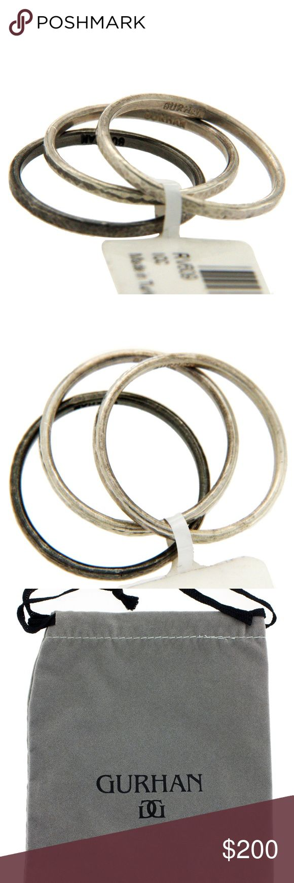 GURHAN 925 Sterling Silver Set Of 3 Midnight Ring GURHAN 925 Sterling Silver Set Of 3 Midnight Band Ring  Type: Ring Top: 5 mm Band Width: 5 mm Metal: Sterling Silver Metal Purity: 925  Size:6.5 Hallmarks: Gurhan Total Weight: 2.5 Grams Stone Type: None Condition: New Stock Number: U419 Gurhan Jewelry Rings