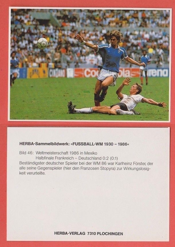 FRANCE v WEST GERMANY FERNANDEZ FORSTER 1986 WORLD CUP FOOTBALL STICKER (A)  | eBay