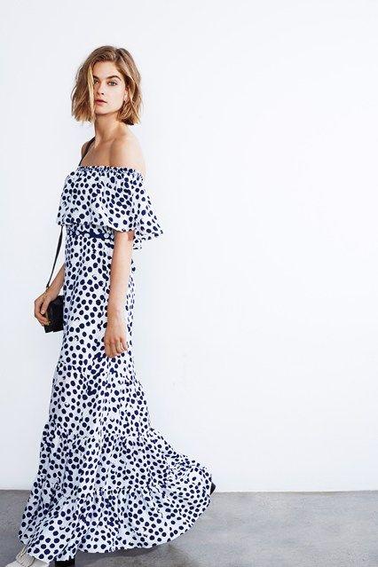 Rebecca Minkoff, polka dot maxi dress off shoulder, s/s 2015
