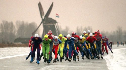 Eleven Cities Tour- Elfstedentocht – the world's largest and longest (almost 200 km.) speed skating competition conducted on frozen canals, rivers and lakes between the eleven historic Frisian cities.