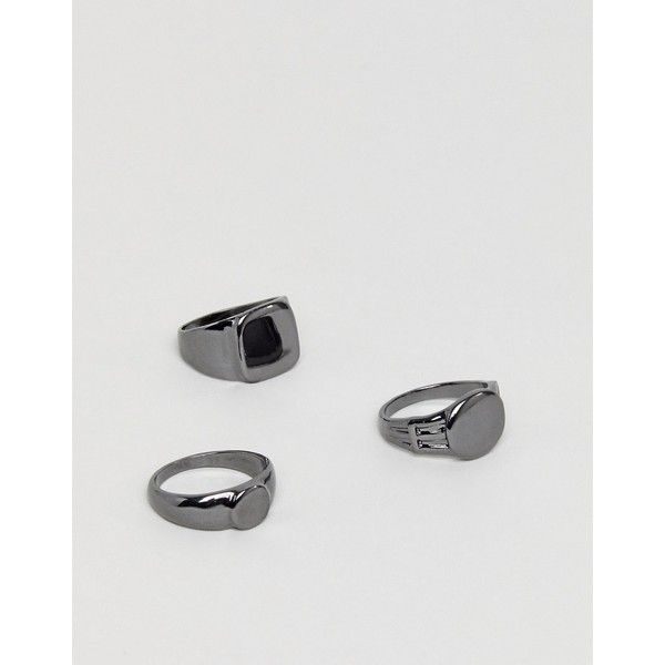DesignB Signet & Pinky Rings In 3 Pack In Gunmetal Exclusive To ASOS ($29) ❤ liked on Polyvore featuring men's fashion, men's jewelry, men's rings, silver, mens gunmetal wedding rings, mens signet rings, mens pinky rings and mens signet pinky rings