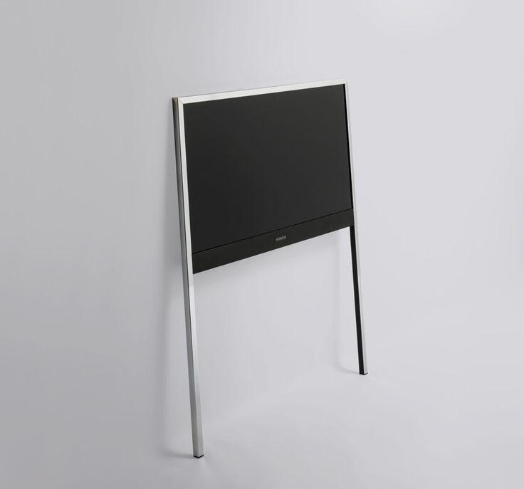 leaning a tv against a wall.  minimal legs.  interesting idea.