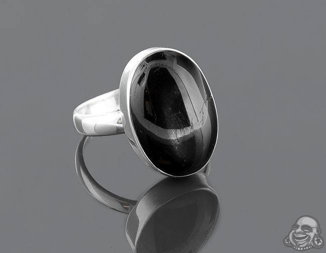 Sterling silver and black sheen obsidian ring (Size 8)
