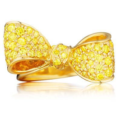 Mimi So Canary Yellow Diamond Bow Ring.  Would love to see this in pink!!